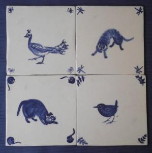 tegels in coproductie met Gerda van Kersbergen, diverse dieren